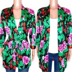 Vintage Roxanne Black Floral Boho Open Robe Kimono